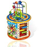 Gleeporte 8-in-1 - Wooden Activity Play Cube   Includes Tic Tac Toe Game   Multi-Function, Deluxe, Learning Multi Sensory Educational Toy for Toddler & Kids with Turning Base   Ideal Gift
