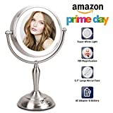 LED Lighted Makeup Mirror, 10X Magnifying Makeup Mirror with Lights, 7.5 Inch Double Sided Mirror with 1X/10X Magnification, 1100 Lux LED Bulbs with Natural White Light, AC Adpater or Battery Operated