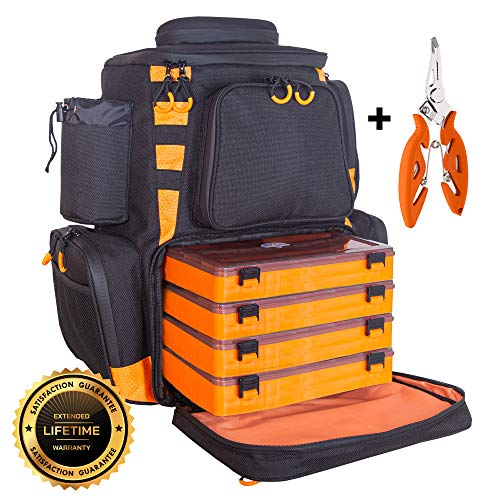 eTacklePro Fishing Backpack | Waterproof Tackle Bag with Protective Rain...