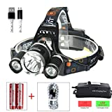 High Power LED Headlamp Boruit 5000LM XM-L2 2XPE Rechargeable LED Headlamp Headlight Flashlight with 2x Protected 18650 Batteries and USB Charging Cable