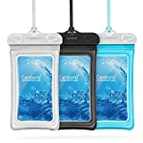 Cambond Waterproof Phone Pouch, 3 Pack Floating Waterproof Phone Case, Transparent PVC Water Proof Cell Phone Pouch Dry Bag with Lanyard for iPhone X 8 7 6s Plus Galaxy S9 S8 S7, Black Blue White
