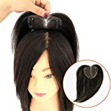 Moreal 7cm x 9 cm Mono Lace Base Real Human Hair Toupee Topper Clip in Top Hairpieces for Thining Hair Dark Brown