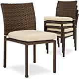 Best Choice Products Set of 4 Stackable Outdoor Patio Wicker Chairs with Cushions, UV-Resistant Finish, and...
