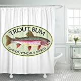 Semtomn Shower Curtain Fishing Funny Trout Bum Fish Fly Love Painting 72'x72' Home Decor Waterproof Bath Bathroom Curtains Set with Hooks