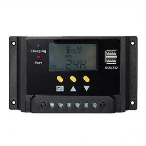 Signstek 12V/24V PWM Solar Panel Solar Regulator Charge Controller LCD USB Charge Port