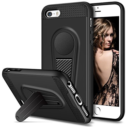 Vofolen Kickstand Case for iPhone SE Case iPhone 5S Case Foldable Holder Stand Protective Armor Hybrid Hard Shell Dual Layer Shockproof Bumper Cover Fit Magnetic Car Mount for iPhone SE 5S 5 (Black)