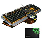 LexonElec@ V1 Keyboard Mouse Combo Gamer Wired Orange Yellow LED Backlit Multimedia Ergonomic Metal Pro Gaming Keyboard + 3200DPI 6 Buttons Mouse + Mouse Pad for PC (Black Silver & Yellow Backlit)