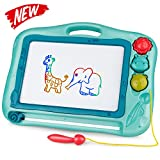 Gamenote Magnetic Drawing Board for Kids 16×12 inch - Doodle Board for Toddlers Comes with Adorable 3 Stamps, Magnet Pen, Gifts for Toddlers Kids Colorful Erasable Magnet Writing Sketching Pad (Blue)