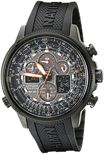 517RE5Ze9iL Light-powered watch with orange accents featuring multi-function chronographs, luminous markers, and digital information displays 48 millimeter stainless steel case with Anti-Reflective Mineral Crystal Japanese quartz movement with analog display