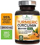 Turmeric Curcumin Highest Potency 95% Curcuminoids 2600mg with Bioperine Black Pepper for Best Absorption, Made in USA, Best Vegan Joint Pain Relief, Nature's Nutrition Turmeric Pills - 180 Capsules
