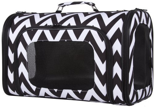 Ever Moda Chevron Pet Carrier Purse (18 Inch, Black)