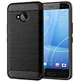 EGALO HTC U11 Life Case, Slim Thin Soft Skin Silicone Flexible Soft TPU Carbon Fiber Pattern Shock Absorption Technology Raised Bezels Anti-Scratches Protective Cases Cover for HTC U11 Life (Black)