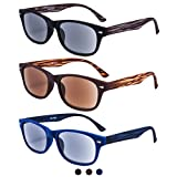 EYEGUARD 3 Pack Unisex Classic of Style Sunglasses Readers UV400 Protection Outdoor Reading Glasses for Men and Women +1.50 - Not Bifocals