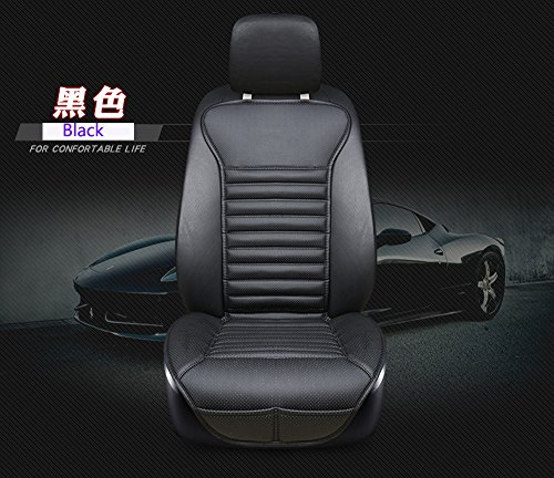 EDEALYN New Universal car seat Cover PU Leather + Bamboo Charcoal Car Seat Cushion Car seat backrest pad - Car Interior Accessories,1 PCS (Black-B)