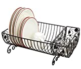 Country Kitchen Dish Rack with Cutlery Basket - 18x10x8 (Black)