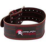 Dark Iron Fitness Genuine Leather Pro Weight Lifting Belt for Men and Women | Durable Comfortable & Adjustable with Buckle | Stabilizing Lower Back Support for Weightlifting