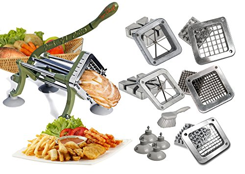 TigerChef commercial french fry cutter Heavy Duty Grade French Fry Cutter with Suction Feet Complete Set, Includes 1/4', 3/8', 1/2', 6', 8' Wedge Blade/Pusher Blocks with Cleaning Brush (Pack of 14)
