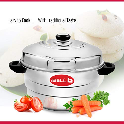 517ZJWGV23L - IBELL IP21P3SM High Food Grade Idly Pot Stainless Steel with Steamer and Mini 3 Idlis Plates (21 Idlyes)