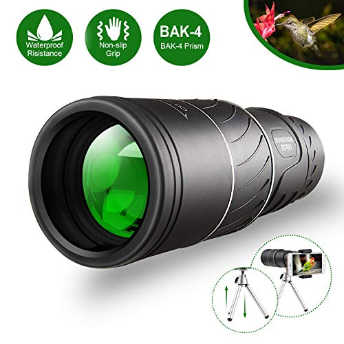 Monocular Telescope, 16x52 Monocular Dual Focus Optics Zoom Telescope, Day & Low Night Vision- [Upgrade]Waterproof Monocular with Durable and Clear FMC BAK4 Prism Dual Focus for Bird Watching (black)