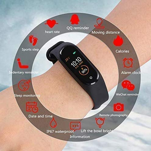 SBA999 ABM403 M4 Bluetooth Wireless Smart Fitness Band for Boys/Men/Kids/Women | Sports Watch Compatible with Xiaomi, Oppo, Vivo Mobile Phone | Heart Rate and BP Monitor, Calories Counter 5