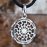 Handmade Black Sun Wheel Sonnenrad 925 Sterling Silver Pendant Necklace Occult Symbol Kolovrat Warrior Talisman Pagan Norse Viking Jewelry Gifts for Men Women