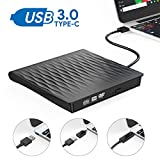 External CD DVD Drive,AUCEE USB 3.0 Type C Dual Port Slim Portable External CD DVD Rewriter Burner Writer, High Speed Data Transfer External USB Optical Drives for Laptop/MacBook/Desktop (Black)