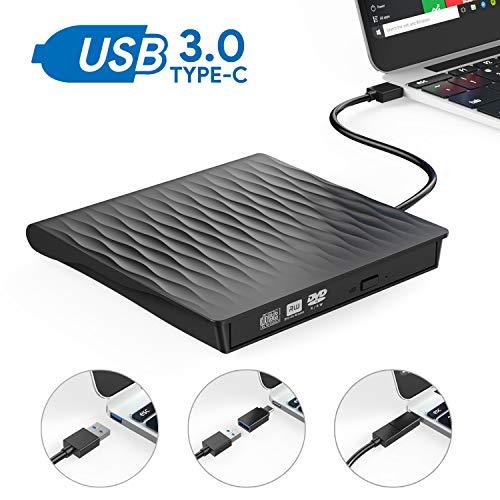 External CD DVD Drive,AUCEE USB 3.0 Type C Dual Port Slim Portable External CD DVD Rewriter Burner Writer, High Speed Data Transfer External USB Optical Drives for Laptop/MacBook/Desktop (Black)