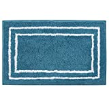 Artiron Banded Bathroom Rug Non-Slip Absorbent Water Super Cozy Floor Mats, Soft Shaggy Microfiber Kids Rugs Durable Machine Washable Bath Rugs for Shower Mat 20x31inch Blue