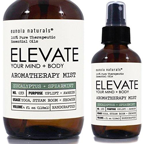 ELEVATE- Eucalyptus Spray, Eucalyptus Shower Spray, Eucalyptus Aromatherapy Mist, Steam Room Spray, Shower Mist, Refreshing & Uplifting Blend, Eucalyptus Essential Oil Mist, All Natural, 4oz Bottle
