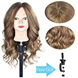 20'-22'100% Human Hair Mannequin Head Cosmetology Training Practice Head Styling Dye Cutting Manikin Doll Head with a Free Table Clamp Holder