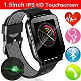 1.55' IPS Touchscreen Sport Fitness Tracker with Blood Pressure Heart Rate Monitor for Men Women Smartwatch Bluetooth Phone Call Music Camera Kids Stopwatch Run Pedometer Activity Tracker Travel