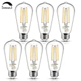 Vintage LED Edison Bulb, 6W, Equivalent 60W, Soft White 2700k, Dimmable Led Filament Light Bulb, E26 Base, High CRI 95 Eye Protection Led Bulb, Clear Glass for Bathroom Kitchen Dining Room, Pack of 6