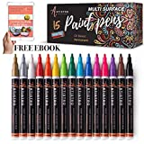 Paint Pens for Rock Painting, Stone, Metal, Ceramic, Porcelain, Glass, Wood, Fabric, Canvas. Set of 15 Permanent Oil Based Paint Markers Fine Tip