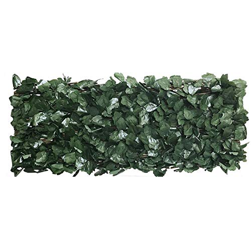 Balcony Privacy Screen Protector Artificial Leaf Faux Ivy Expandable Stretchable Privacy Fence Screen Single Sided Leaves Made with Uv Stabilized Polyethylene Water Resistant and All Year Dark Green-1