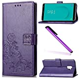 Samsung Galaxy J6 Case Cover EMAXELER Embossing Colour Stylish Kickstand Credit Cards Slot Cash Pockets PU Leather Flip Wallet For Samsung Galaxy J6 2018 Version Clover Purple