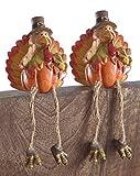 Pumpkin Turkey Resin Shelf Sitters - Set of 2