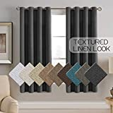Linen Curtains Thermal Insulated Room Darkening Rich Textured Linen Curtain for Bedroom Curtains for Small Window Blackout Curtains 63 Length, Grommet Linen Curtain Drapes - Charcoal Gray (Set of 1)