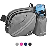 KEESPENCE Hiking Fanny Pack, Waist Bag with Water Bottle Holder for Men Women Outdoors Walking Running, Dog Fanny Pack, Fit iPhone 8 Plus/XS Max/ 6.5'' Large Smartphones (Light Grey)