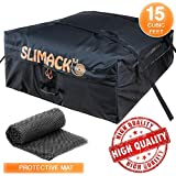 Slimack Rooftop Cargo Carrier Bag Waterproof Luggage Carrier for Cars Vans and SUVs Roof Top Storage Soft Cargo Bag Luggage Travel Bag with Protective Mat and Straps 15 Cubic Feet