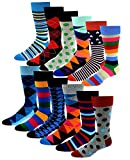 12 Pairs Pack Men's Premium Combed Cotton Fashion Funky Design Dress Socks 10-13 (Assorted Classic Design)