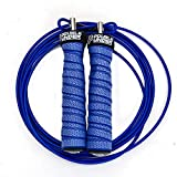 Jump Rope Workout System for Double Unders, 2 Cable Weights for Heavy and Light Skipping, Speed Grip for WOD, HIIT Workouts, MMA or Boxing, 10 Foot Adjustable for Men and Women (blue)