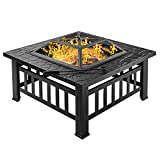 Bonnlo 32' Fire Pit Outdoor Wood Burning Table Backyard, Terrace, Patio, Camping - Includes Mesh Spark Screen Top and Poker