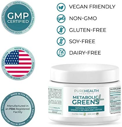 Metabolic Greens+ the Energy Magician by PureHealth Research (Non-GMO) Natural Weight Loss Supplement, Energy and Mood Booster, Metabolism Booster - Healthy Natural Digestive Blends, 3 Bottles (1) (1) 5