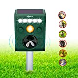 ZOVENCHI Animal Repeller, Outdoor Solar Animal Repeller with LED Flashing Light, Waterproof Animal Repeller with Motion Sensor, Expel Dogs, Cats, Squirrels, Rabbits and More
