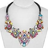 Fashion Flower Statement Necklace Rhinestone Muticolor Rope Chunky Bubble Bib Women Jewelry