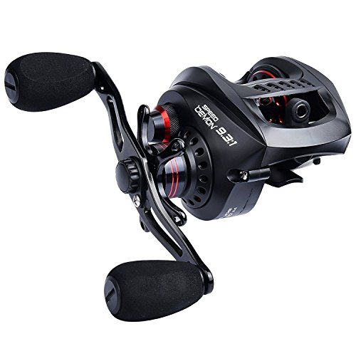 KastKing Speed Demon Baitcasting Fishing Reel,High Speed 9.3:1 Gear Ratio,13.2 Lb Carbon Fiber Drag Baitcaster.