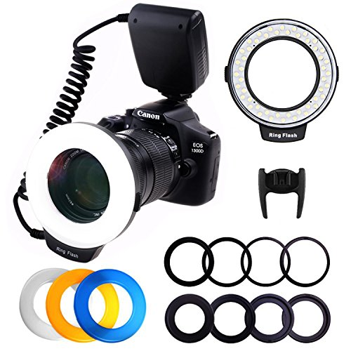 RPLOTURE 48 Ring Flash Light with LCD Display Adapter Rings and Flash Diffusers for Canon Nikon and Other DSLR Cameras, Fit 49, 52, 55, 58, 62, 67, 72, 77mm Camera Lenses