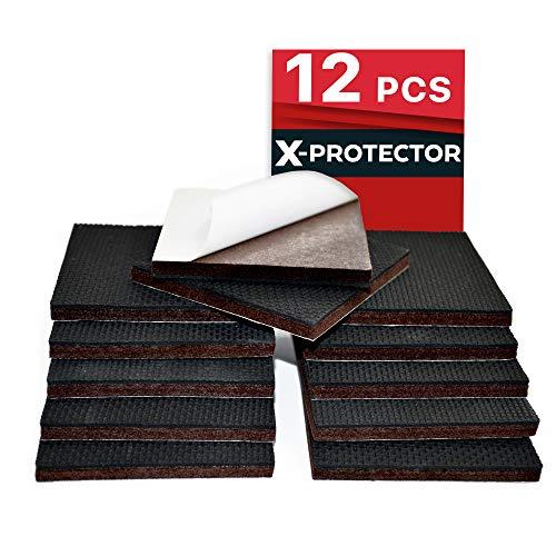 "Non Slip Furniture Pads X-PROTECTOR – Premium 12 pcs 3"" Furniture Pad! Best Furniture Grippers - SelfAdhesive Rubber Feet - Furniture Floor Protectors for Keep in Place Furniture & Furniture Stoppers"