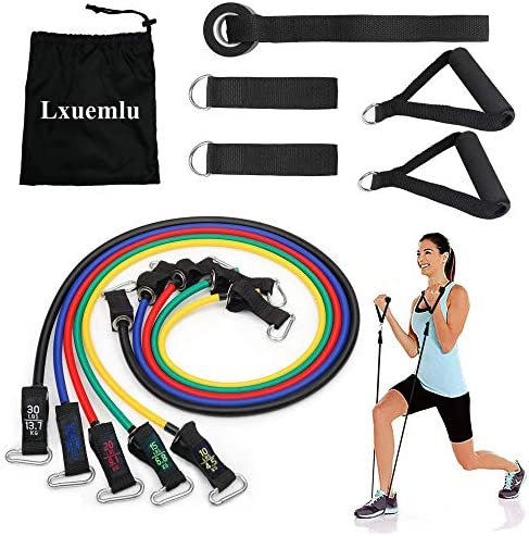 Lxuemlu 【2020 Upgraded】 Resistance Bands Set with Handles, Door Anchor, Ankle Straps and Workout Guide Exercise Bands for Men Women Resistance Training, Home Workouts 3