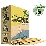 World Brand 250 Dye-Free Biodegradable PREMIUM Paper Straws, Made from Kraft